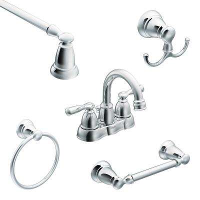 Banbury 4 in. Centerset 2-Handle High-Arc Bathroom Faucet in Chrome with 4-Piece Bath Hardware Set