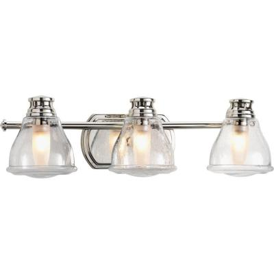 Academy Collection 3-Light Polished Chrome Bathroom Vanity Light