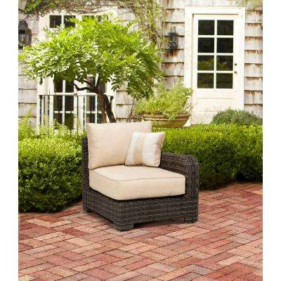 Northshore Right Arm Patio Sectional Chair with Harvest Cushion and Regency Wren Outdoor Throw Pillow -- STOCK