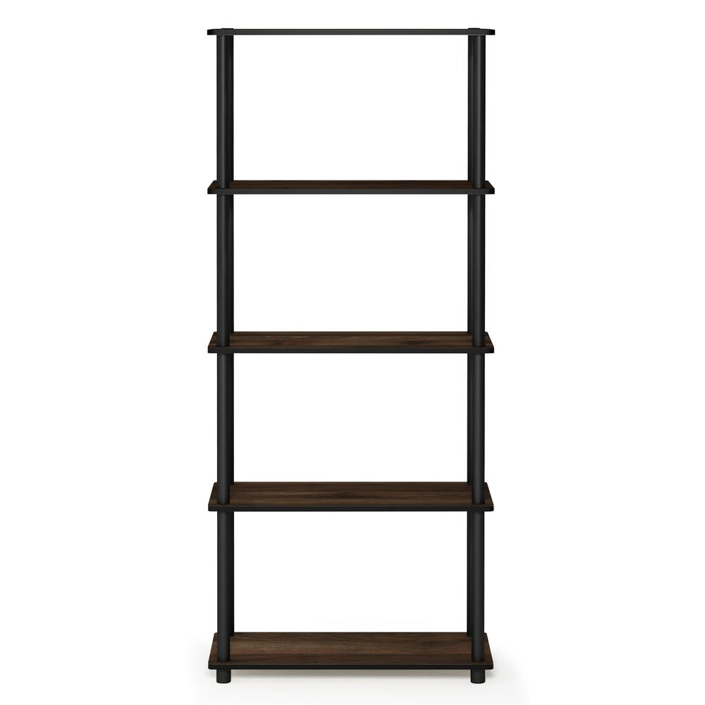 Furinno Turn-N-Tube Columbia Walnut/Black 5-Shelf Multipurpose Display Shelf