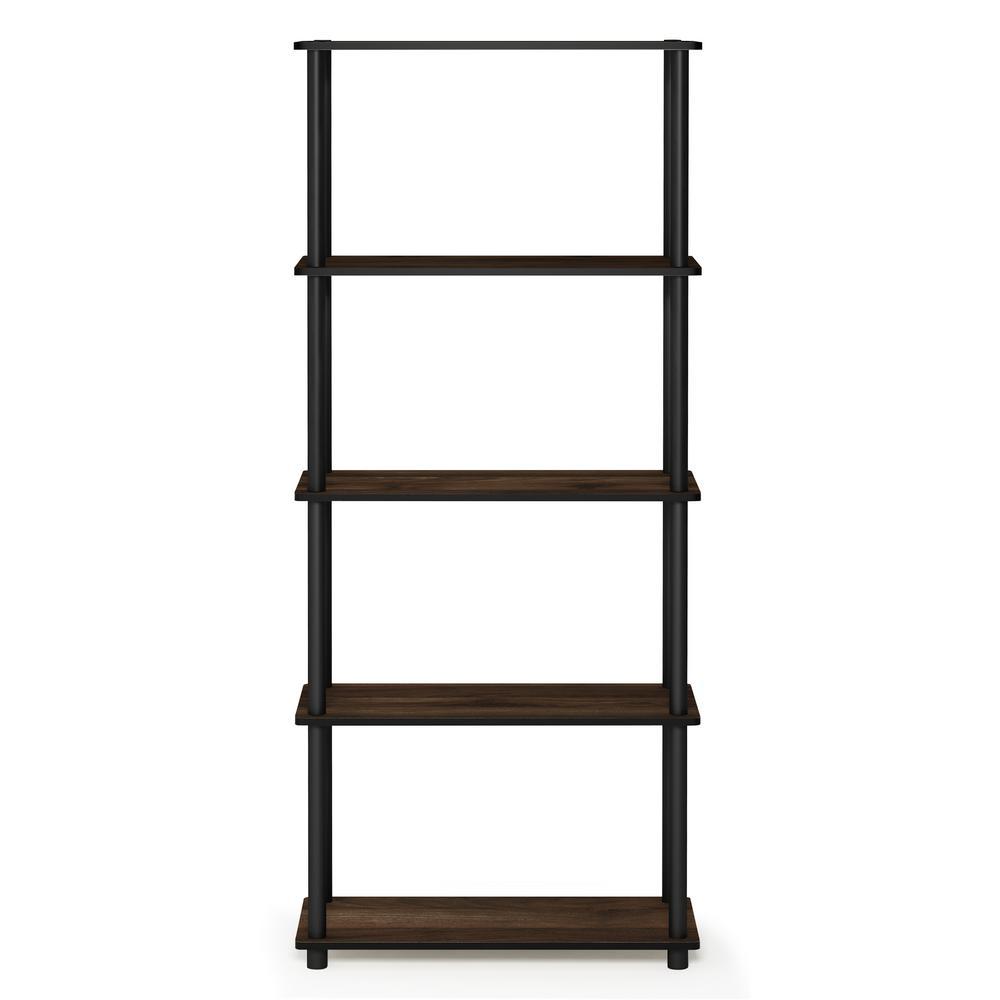 Furinno Turn-N-Tube Columbia Walnut/Black 5-Shelf Multipurpose Display Shelf
