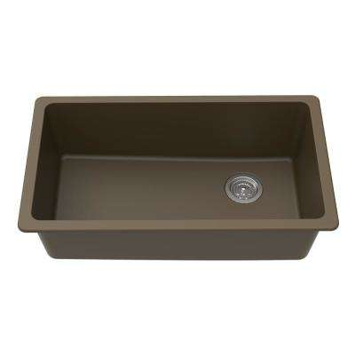 Undermount Granite Composite 0 Faucet Hole 33 in. L x 18-3/4 in. L x 9-1/2 in. Single Bowl Kitchen Sink in Mocha