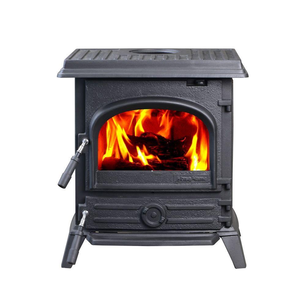 Classical style Pony is a cast iron wood burning stove based on Nordic design elements to provide classical elegance and beauty. Designed with top and rear vents to give installation flexibility. This