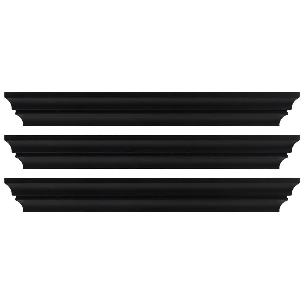 Madison 24 in. x 4 in. Black Contoured Wall Ledge and