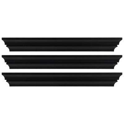 Madison 24 in. x 4 in. Black Contoured Wall Ledge and Shelf (Set of 3)
