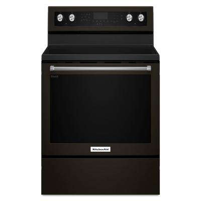 6.4 cu. ft. Electric Range with Self-Cleaning Convection Oven in Black Stainless
