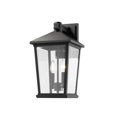 2-Light Black Outdoor Wall Sconce with Clear Beveled Glass
