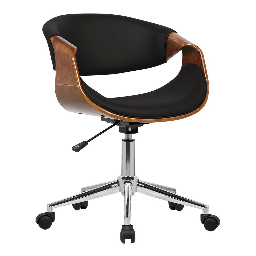 Geneva 33 in. Black Faux Leather and Chrome Finish Mid-Century Office