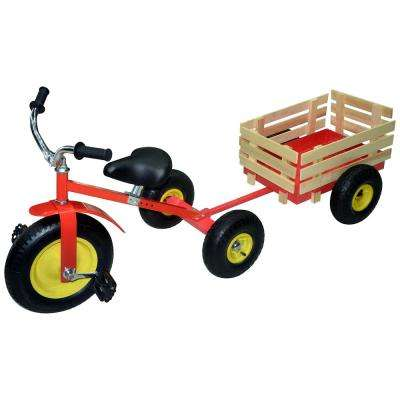 14 in. All-Terrain Trike Combo in Red with Tow-Behind Trailer