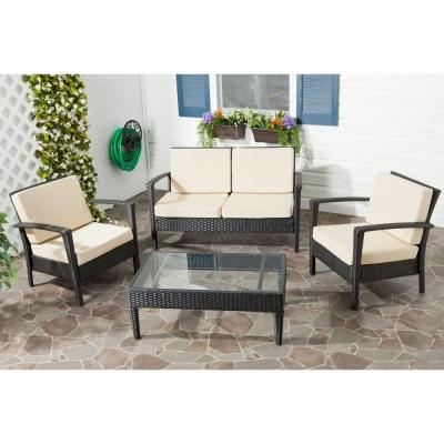 Piscataway Charcoal 4-Piece Wicker Patio Conversation Set with Beige Cushions