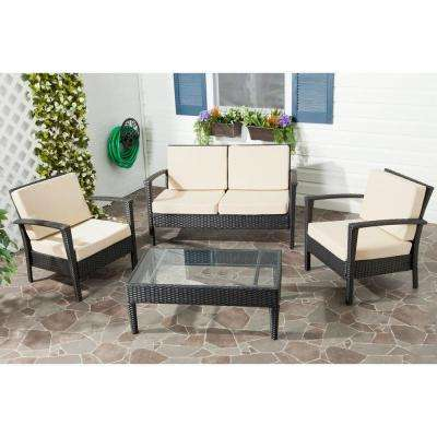 Piscataway Charcoal 4-Piece Wicker Patio Seating Set with Beige Cushions