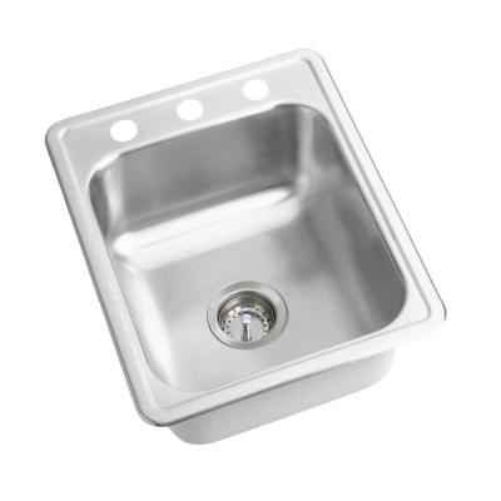 Dayton Drop-In Stainless Steel 17 in. 3-Hole Single Bowl Bar Sink