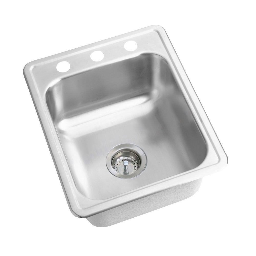 Elkay Dayton Drop In Stainless Steel 17 3 Hole Bar Sink D117213 The Home Depot