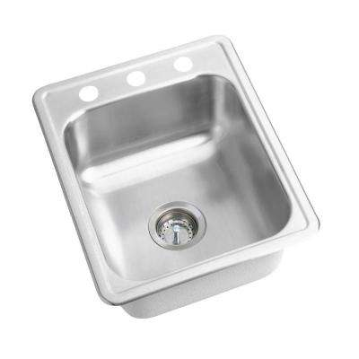 Dayton Drop-In Stainless Steel 17 in. 3-Hole Single Bowl Bar Sink