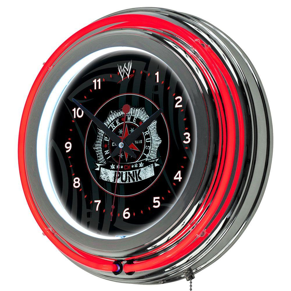 Trademark Global 14 in. WWE CM Punk Neon Wall Clock-DISCONTINUED