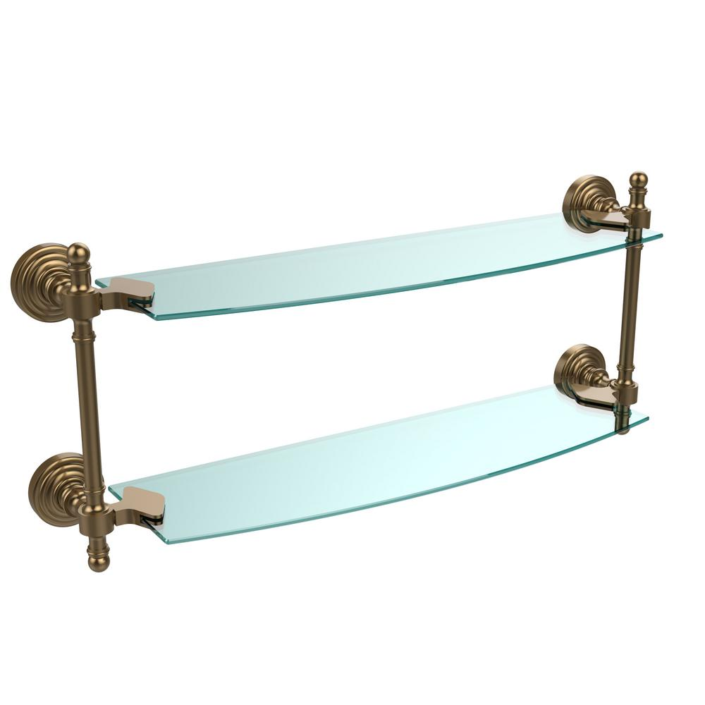 Allied Brass Retro Wave Collection 18 in. Two Tiered Glass Shelf in ...
