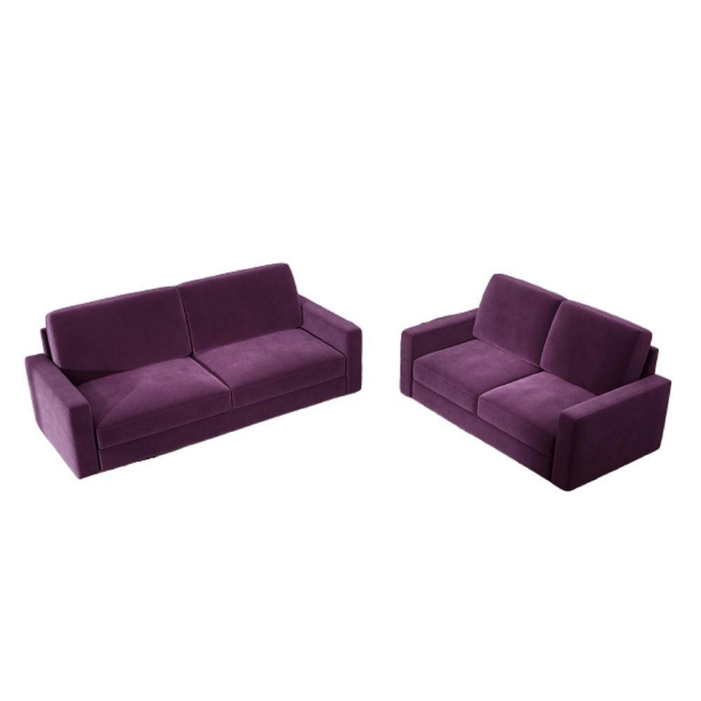 Ross 2-Piece Eggplant Modern Velvet Living Room Set Sofa and Loveseat