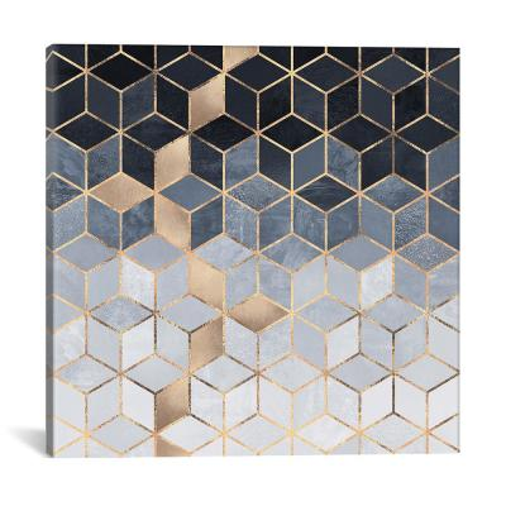 """Soft Blue Cubes"" by Elisabeth Fredriksson Canvas Wall Art"