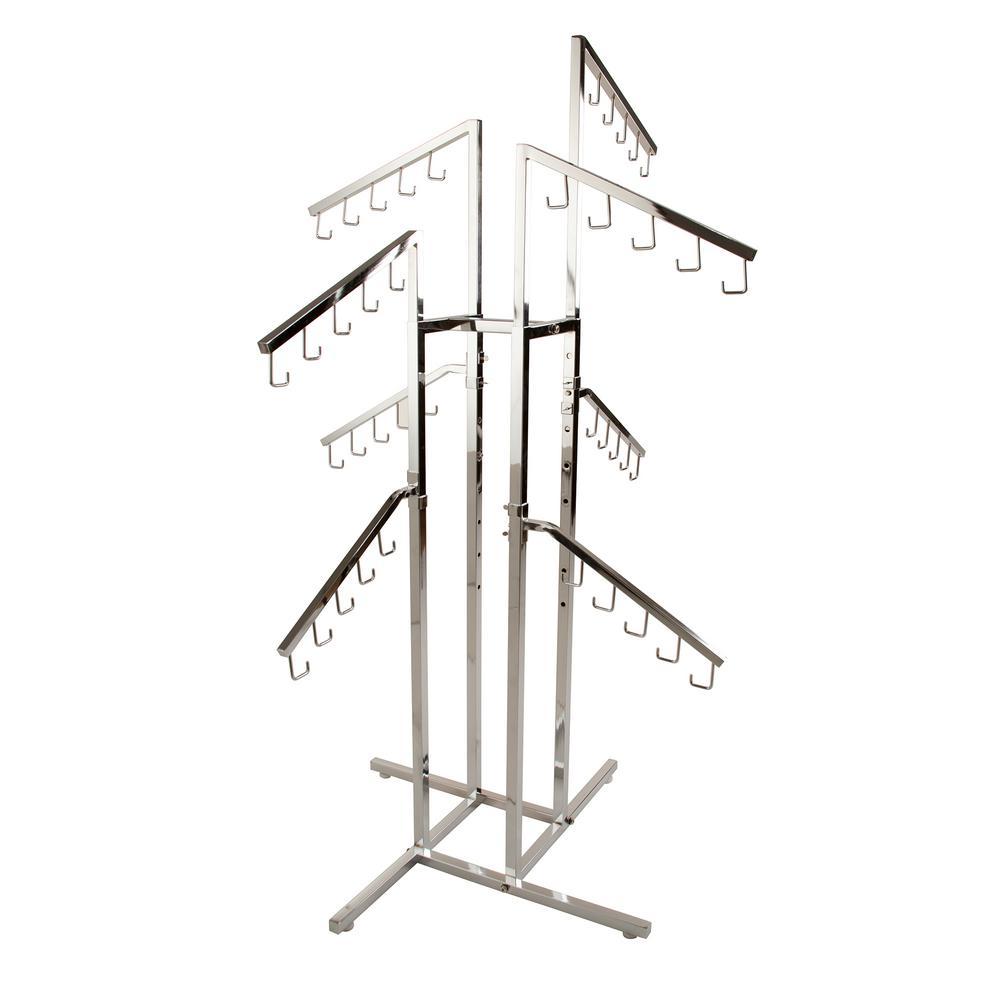 Chrome 4-Way Square tubing Slant Arm Garment Rack