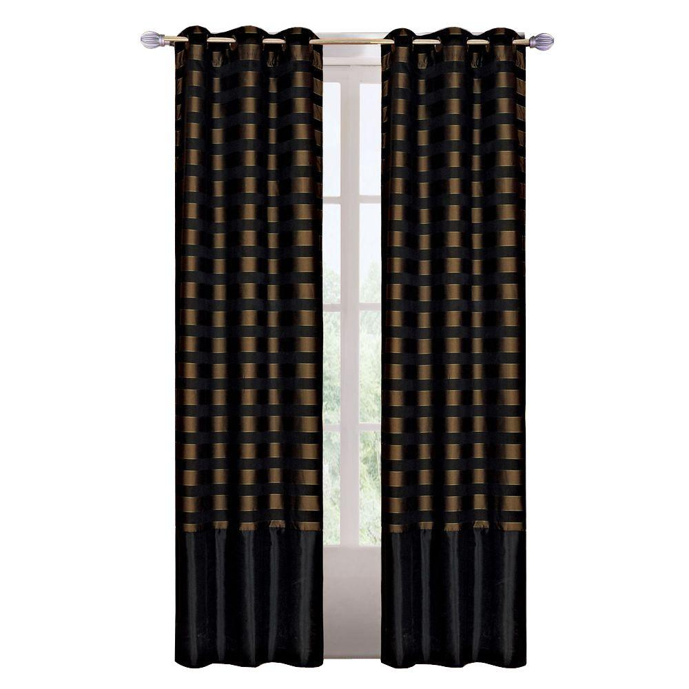 null Black/Brass Polyester Grommet Curtain - 40 in. W x 84 in. L (1 Pair)