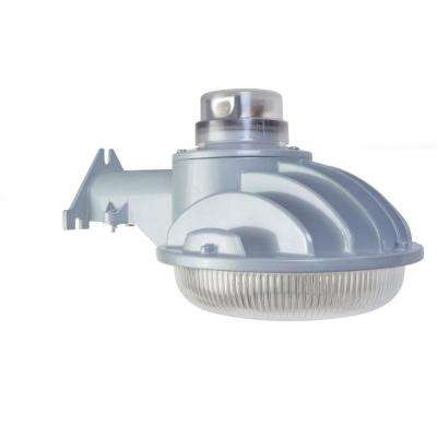40-Watt Grey Outdoor Integrated LED Dusk to Dawn Area Light with Acrylic Prismatic Refractor