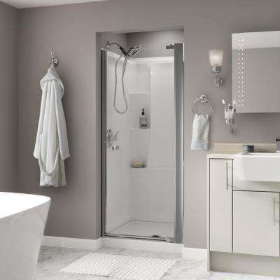 Silverton 36 in. x 64-3/4 in. Semi-Frameless Contemporary Pivot Shower Door in Chrome with Clear Glass
