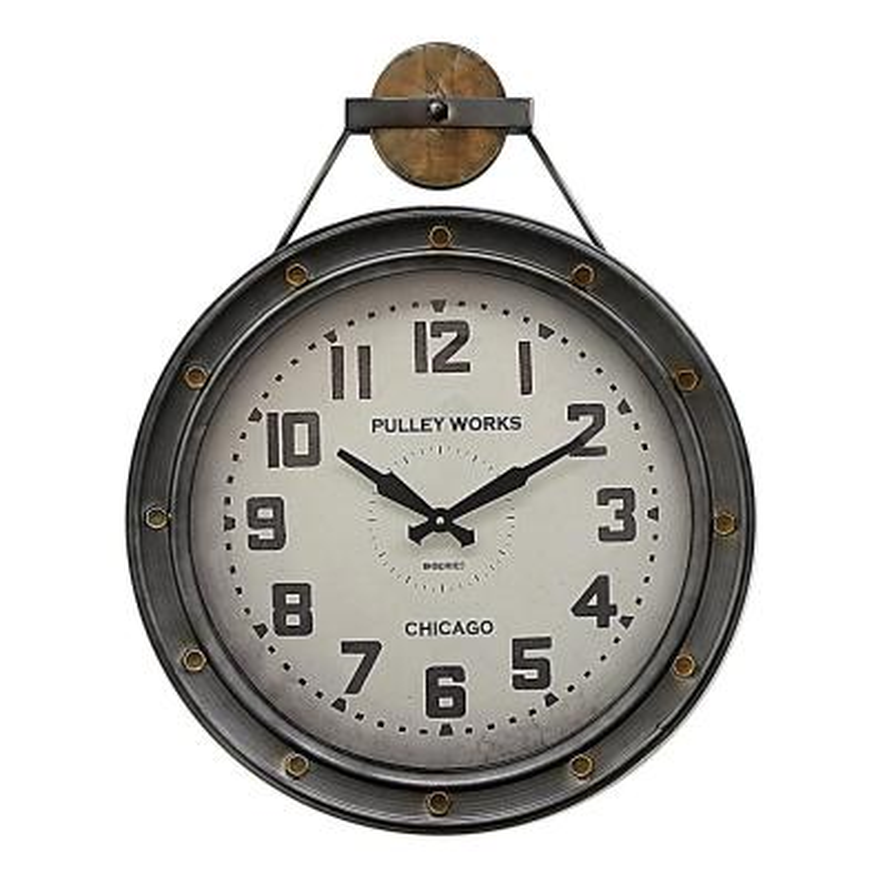 21 in. x 3 in. Metal Wall Clock in Silver
