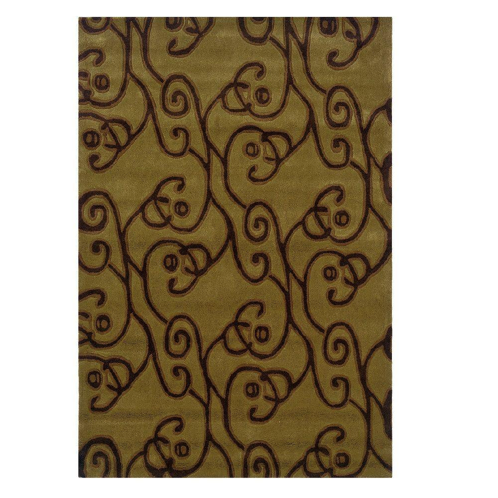 Linon Home Decor Trio Collection Green And Brown 5 Ft X 7 Ft Indoor Area Rug Rug Ta06057 The