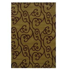 Linon home decor trio collection green and brown 5 ft x 7 for Ta home decor