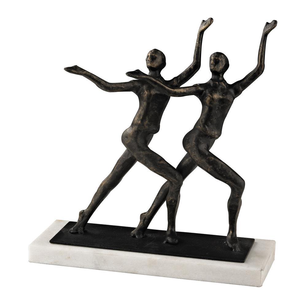 9 in. x 9 in. Chorus Line Decorative Sculpture in Bronze and White