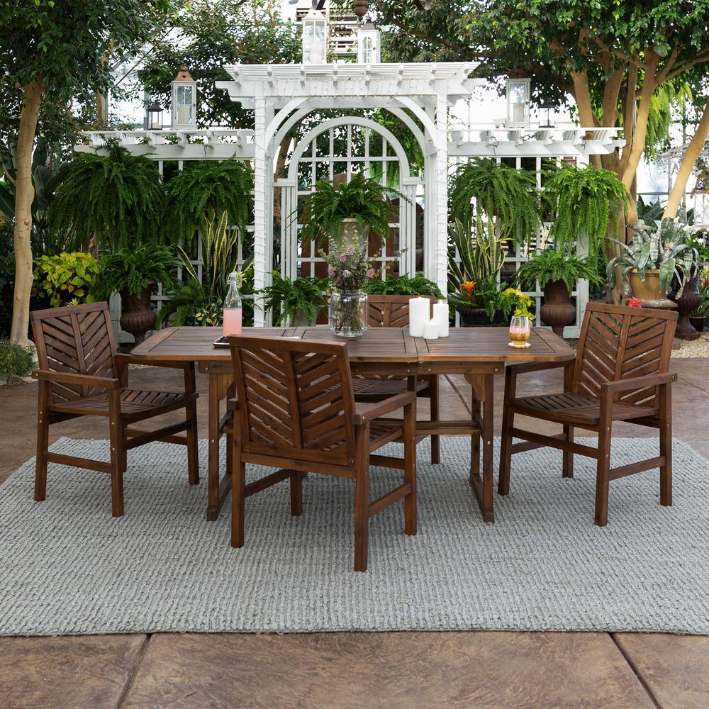 Dark Brown 5-Piece Extendable Wood Outdoor Patio Dining Set