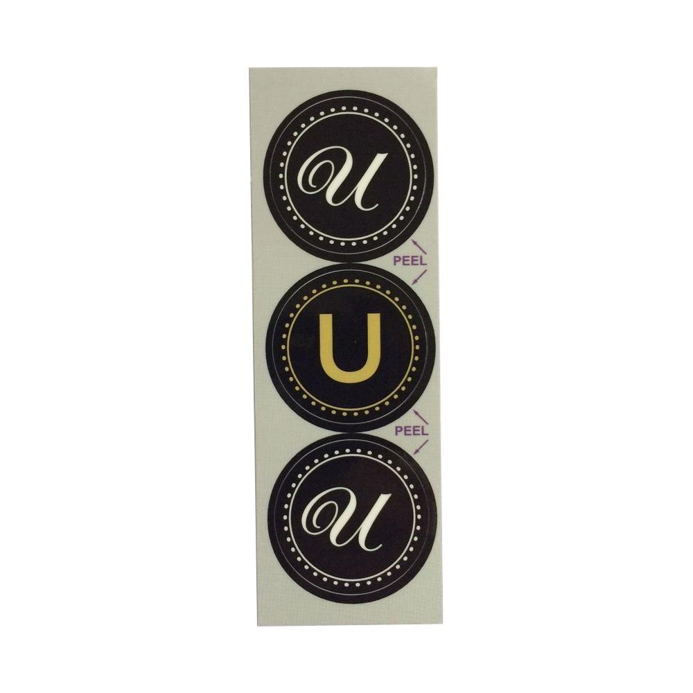 Stopper Toppers U Monogram Decorative Bathroom Sink Stopper Laminates (Set of 3), Gloss