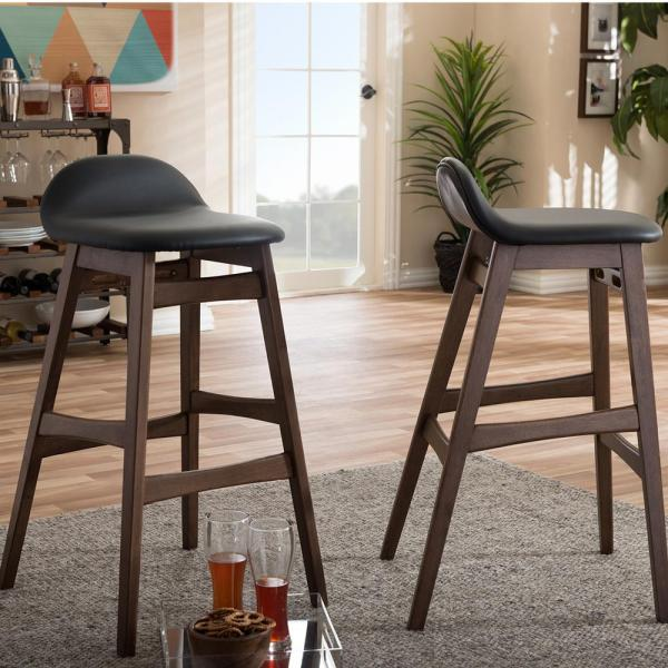 Baxton Studio Bloom Black Faux Leather Upholstered 2-Piece Bar Stool Set