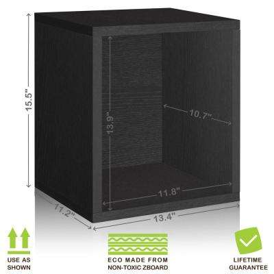 Eco Stackable zBoard 13.4 in. x 12.8 in. Tool-Free Assembly Tall Storage 1-Cube Unit Organizer in Black Grain