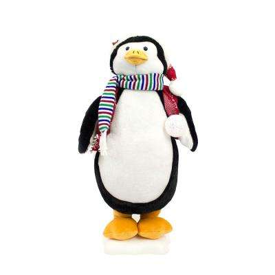 24 in. Christmas Animated Penguin with Head and Hand Movement and LED Lighted Lantern
