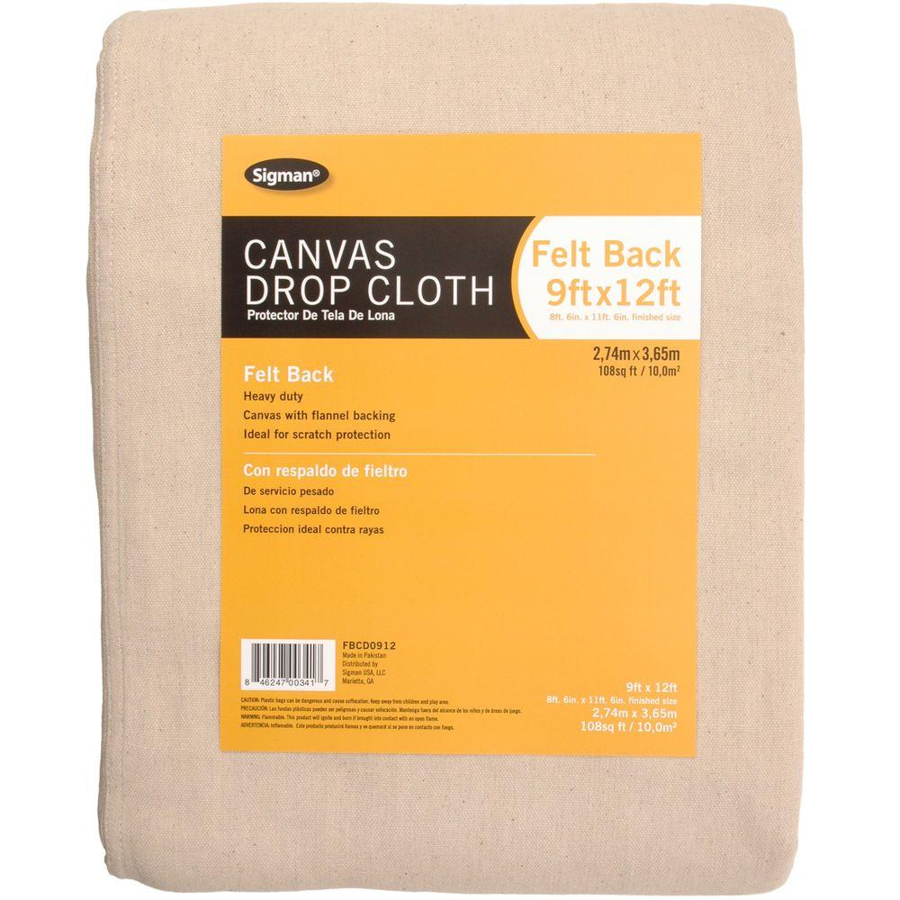 Sigman 8 ft. 6 in. x 11 ft. 6 in. Felt Back Canvas Drop Cloth-DISCONTINUED