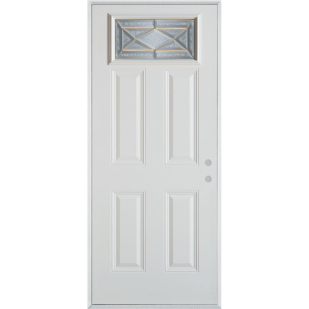 Stanley Doors 37.375 in. x 82.375 in. Art Deco Rectangular Mini Lite 2-Panel Painted White Steel Prehung Front Door