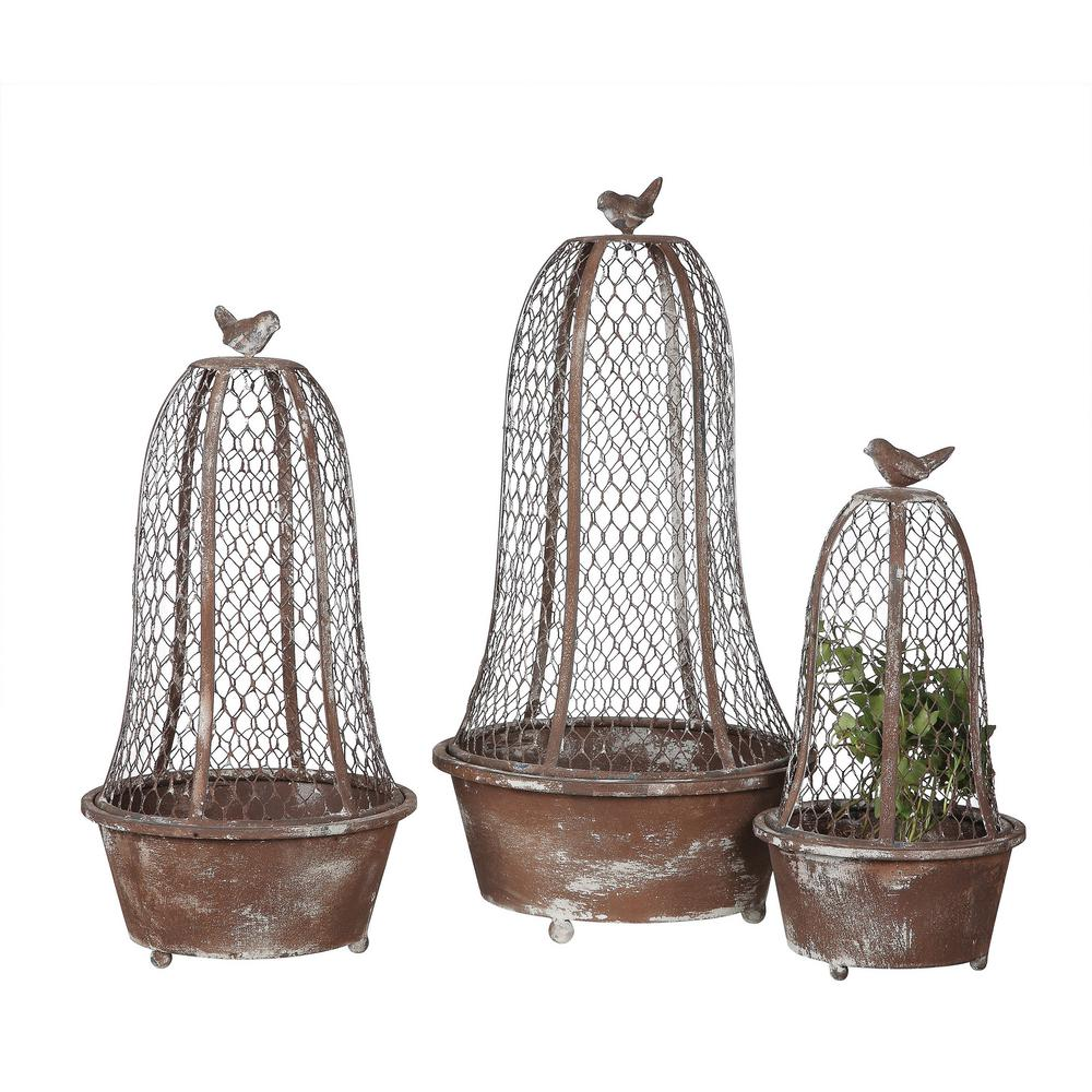 3R Studios Bird Planters Brown Metal and Wire Cloche (Set of 3), Brown/Tan was $89.09 now $58.95 (34.0% off)