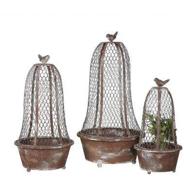 Bird Planters Brown Metal and Wire Cloche (Set of 3)