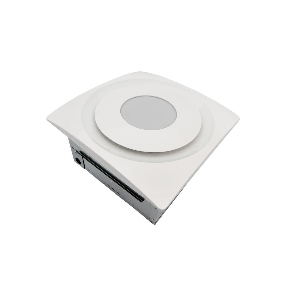 Aero Pure Slim Fit 90 CFM Quiet Bathroom Exhaust Fan with 10-Watt 4000K LED Light Ceiling or Wall Mount White