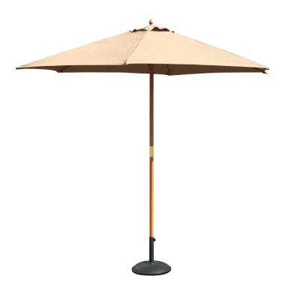 9 ft. Wooden Market Parasol Outdoor Umbrella in Ecru (1-Piece)