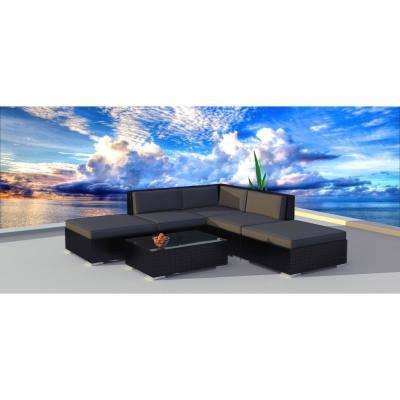 Black Series 6-Piece Wicker Outdoor Sectional Seating Set with Gray Cushions