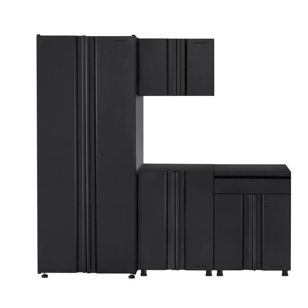 Welded 78 in. W x 75 in. H x 19 in. D Steel Garage Cabinet Set in Black (4-Piece)