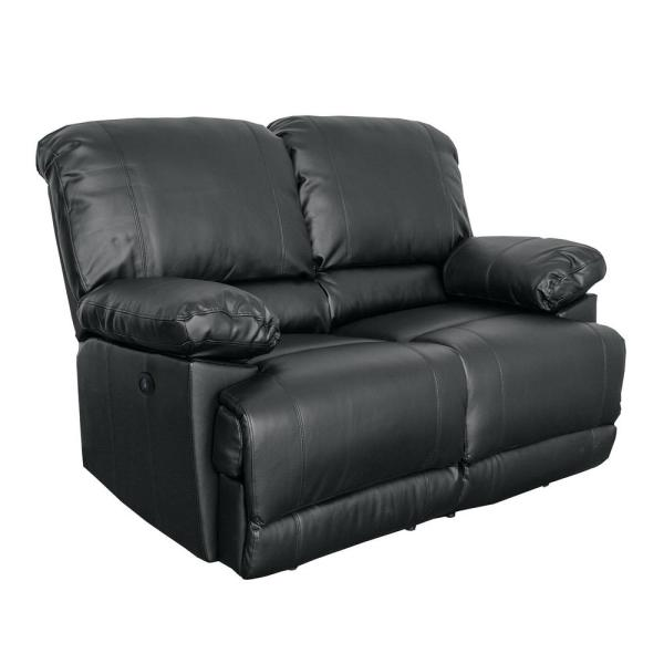 CorLiving Lea Black Bonded Leather Power Reclining Loveseat with USB ...