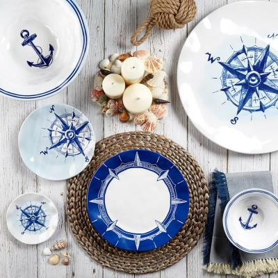 Portsmouth 4-Piece Vintage Blue Melamine Appetizer Plate Set (Service for 4)