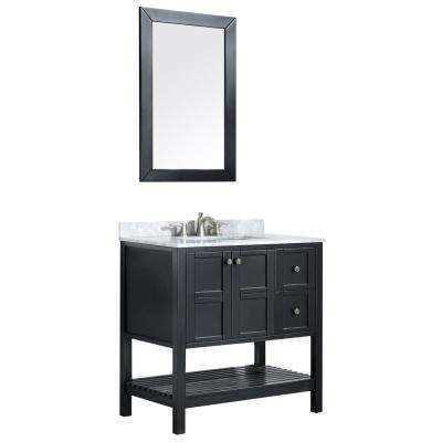 Montaigne 36 in. W x 35.75 in. H Bath Vanity in Black with Marble Vanity Top in Carrara White w/ White Basin and Mirror