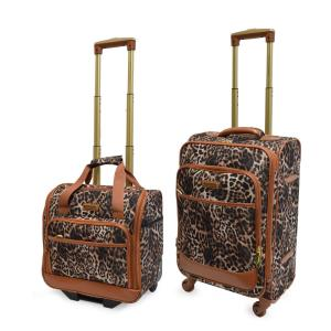 Lightweight Leopard 2 Piece Brown Luggage Set by Adrienne Vittadini