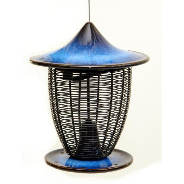 10 in. Cobalt Blue Ceramic Feeder With Cage