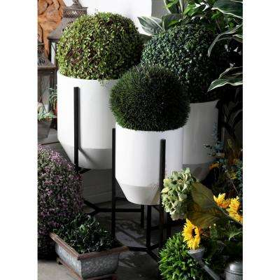 White and Black Iron Tapered Round Planters with Stands (Set of 3)