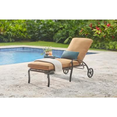 Ridge Falls Dark Brown Aluminum Outdoor Patio Chaise Lounge with Sunbrella Canvas Cork Tan Cushions